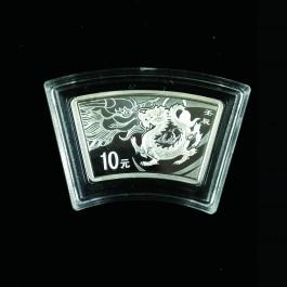 中國2012扇形龍年精鑄紀念銀幣1盎司