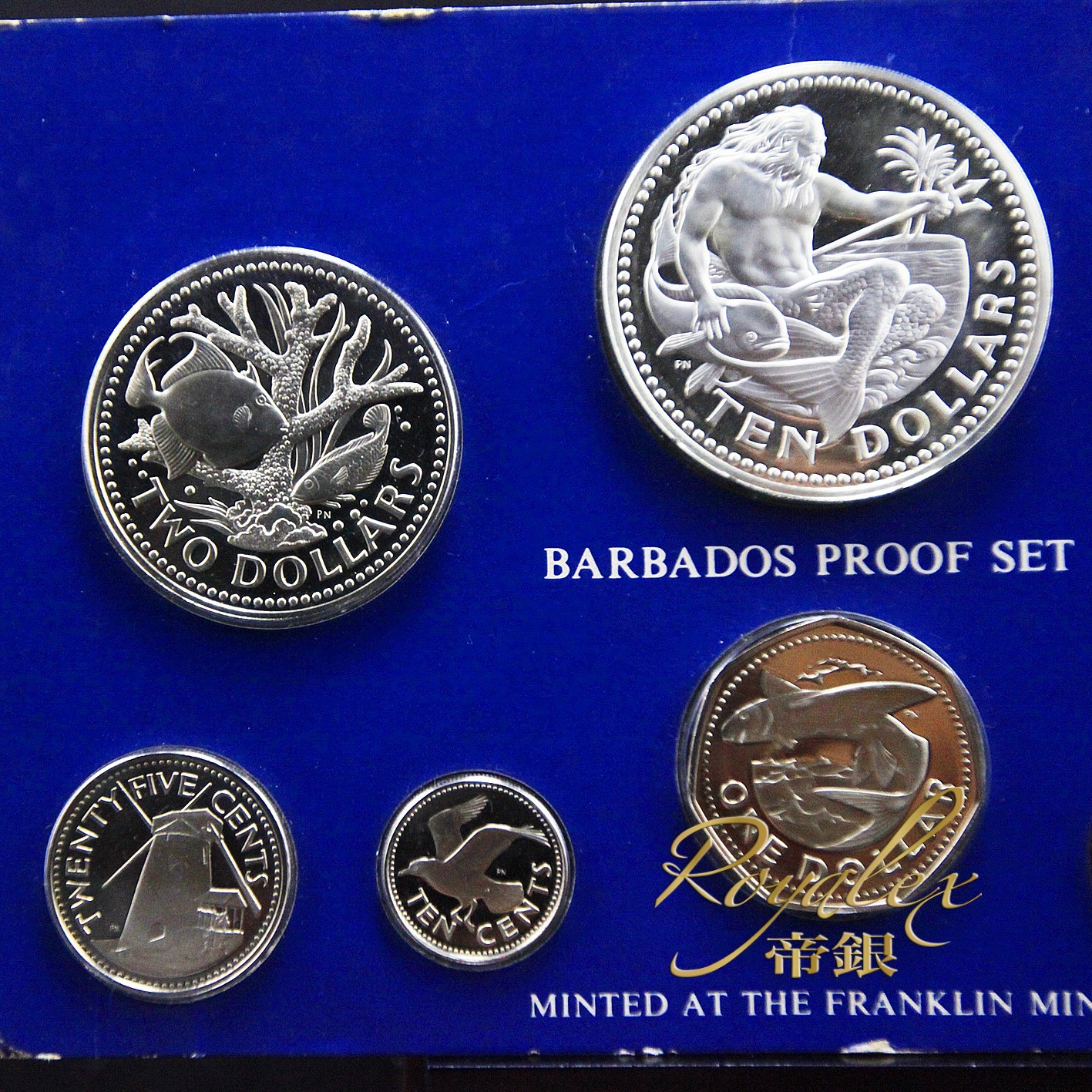 Barbados Silver Gold Proof 8 Coin Set 4oz Royalexsilver