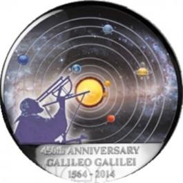 剛果2014伽利略 - 450週年月球拱形仿精鑄彩色銀幣1盎司