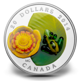 Canada 2014 Water-lily and Venetian Glass Frog Proof Silver 1 oz