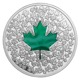 Canada 2014 Maple Leaf Impression - Green Enamel Silver 1 oz