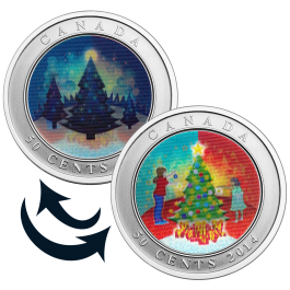 Canada 2014 3D Christmas Tree Colour Coin 0.44 oz