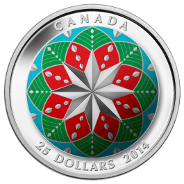 Canada 2014 Christmas Ornament Ultra-High Relief Coloured Silver 1 oz