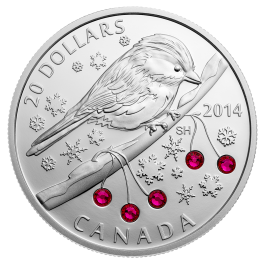 Canada 2014 Chickadee With Swarovskitrade Winter Berry Elements Proof Silver Coin 1oz