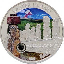 Cook islands 2014 Easter island colored Proof Silver 25g