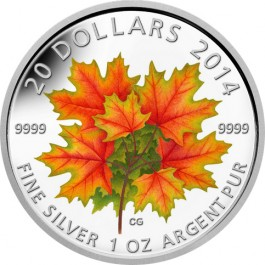 Canada 2014 Glow In The Dark Maple Leaves Colour Silver Coin 1 oz