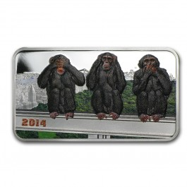 Tanzania 2014 The Three Wise Monkeys Proof Silver Coin 1 oz