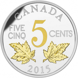 Canada 2015 Legacy of the Canadian Nickel - The Two Maple Leaves Gilded Proof Silver 1 oz