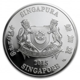 Singapore 2015 Lunar Goat Proof Colored Silver 2 oz