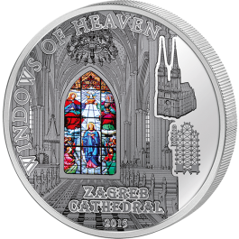 Cook Islands 2015 Windows of Heaven - Zagreb Cathedral Proof Silver 50 g