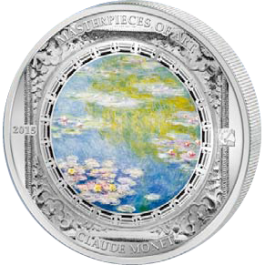 "Cook Islands 2015 Masterpieces of Art - ""Water Lilies"" Claude Monet Proof Silver 3 oz"