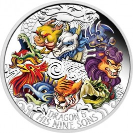 Tuvalu 2015 Dragon and His Nine Sons Colour Proof Silver 5 oz