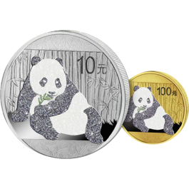 China 2015 Panda Prestige Diamond Gold Silver 2-Coin Set
