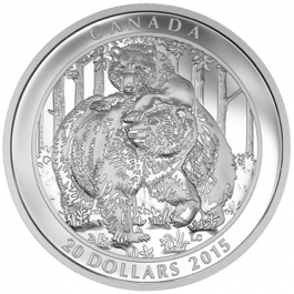 Canada 2015 Grizzly Bear - Togetherness Proof Silver 1 oz