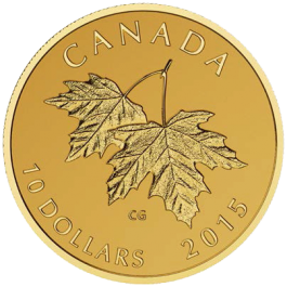 Canada 2015 MAPLE LEAVES WITH QUEEN ELIZABETH II EFFIGY (1990) PURE GOLD COIN 7.8g