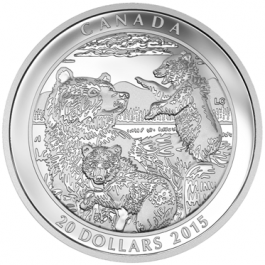 Canada 2015 GRIZZLY BEAR: FAMILY Proof Silver 1 oz