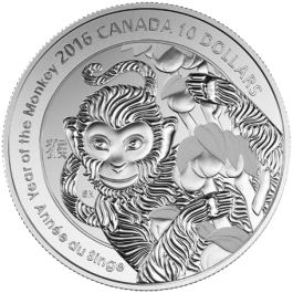 Canada 2016 YEAR OF THE MONKEY Proof Silver 1/2 oz