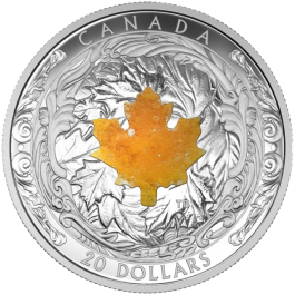 Canada 2016 MAJESTIC MAPLE LEAVES WITH DRUSY STONE Proof Silver 1 oz