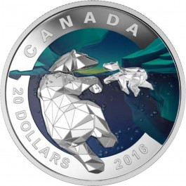 Canada 2016 Geometry in Art: The Polar Bear Proof Silver 31.83 g