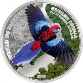 Cook Islands 2014 3D Rosella Proof Silver 20 g