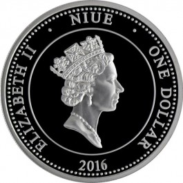 Niue 2016 Aurens Neptun Proof with gold printing Silver Coin 1/2 oz