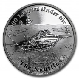 Tuvalu 2015 Famous Fantasy Ships - The Nautilus 20000 Leagues under the Sea Proof Silver 31.1 g