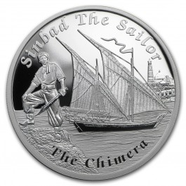 Tuvalu 2015 Famous Fantasy Ships - Sinbad the Sailor The Chimera Proof Silver 31.1 g