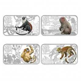 Australian 2016 Monkey Rectangle Proof Silver 4 Coin Set