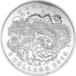 Canada 2016 Dragon Dance Proof Silver 1/4 oz
