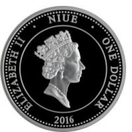 Niue 2016 Aurens Moneta Proof with gold printing Silver Coin 1/2 oz