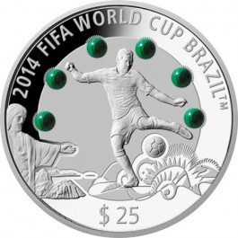 "Fiji 2013 ""2014 FIFA WORLD CUP BRAZIL"" Malachite Proof Silver 3 oz"