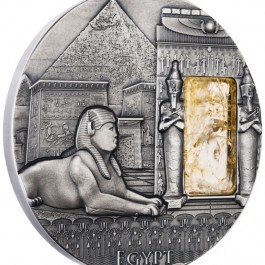 Niue 2015 Imperial Art Series - Egypt High Relief Antique Citrine Stone Inlay Silver 2 oz