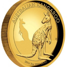 Australia 2016 Kangaroo High Relief Proof Gold Coin 2oz