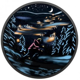 Canada 2017 Great Canadian Outdoors - Night Skiing Glow-in-the-dark Proof Silver Coin 23.17 g