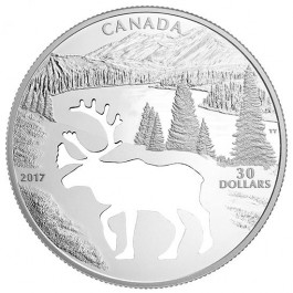 Canada 2017 Endangered Animal Cutout - Woodland Caribou Proof Silver Coin 52.88 g