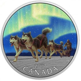 Canada 2017 Dog Sledding under Northern Light Colored Proof Silver Coin 1/2 oz