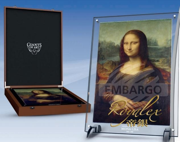 Niue 2017 Giants Of Art Mona Lisa Colored Rectangular Silver Coin