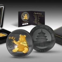 China 2017 Golden Enigma Edition - Panda Ruthenium Gilded Silver Coin 30g