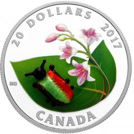 Canada 2017 Little Creatures - Dogbane Beetle Colored Murano Glass Proof Silver Coin 1 oz