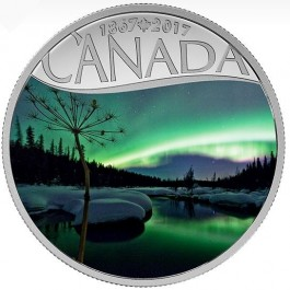 Canada 2017 Celebrating Canada's 150th - Aurora Borealis Colored Proof Silver Coin 1/2 oz