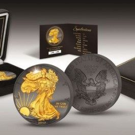 America 2017 Golden Enigma Edition - Eagle Ruthenium Gilded Silver Coin 1 oz