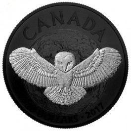 Canada 2017 Nocturnal by Nature - Barn Owl Black Rhodium Plated Proof Silver Coin 1 oz