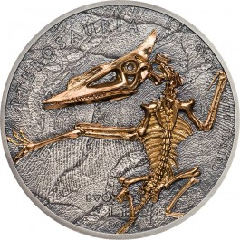 Mongolia 2018 Evolution of Life - Pterosaur Gold-gilded Antiqued Silver Coin 1 oz