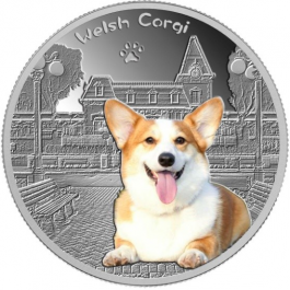 [F] Tchad 2018 Welsh Corgi Colored Proof Silver Coin 1/2 oz