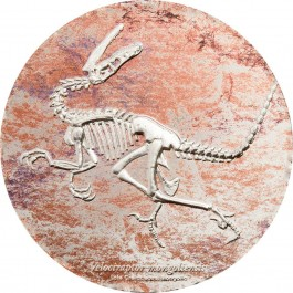 Mongolia 2018 Evolution of Life - Velociraptor Prooflike Silver Coin 3 oz