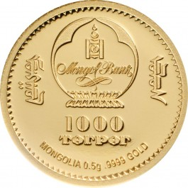 Mongolia 2019 Lunar Year - Jolly Pig Proof Gold Coin 0.5 g