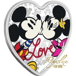 Niue 2019 Disney Love Coloured Heart-Shaped Proof Silver Coin 1 oz_44909