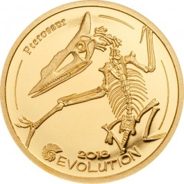 Mongolia 2018 Evolution of Life - Pterosaur Proof Gold Coin 0.5 g