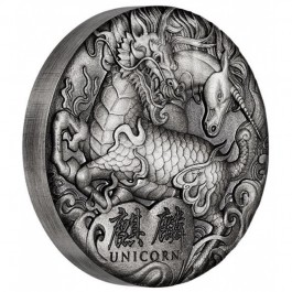 Tuvalu 2018 Unicorn Antiqued Silver Coin 2oz