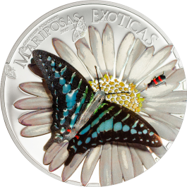 Equatorial Guinea 2015 Exotic Butterflies - Graphium policenes in 3D Proof Silver Coin 25 g